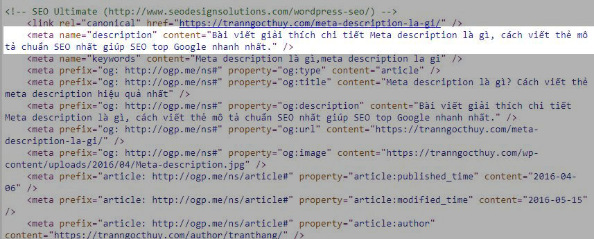 Thẻ meta description khi view source